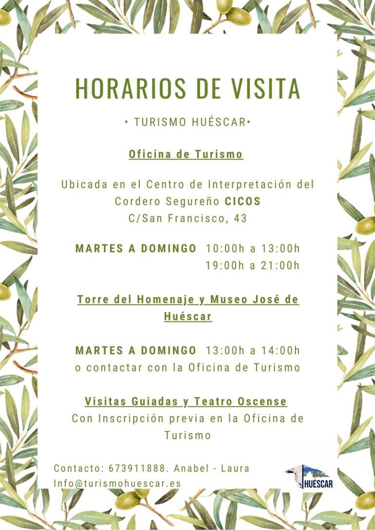 ¡HORARIOS DE VISITA, A LOS CENTROS RECURSOS TURÍSTICOS DE HUÉSCAR!