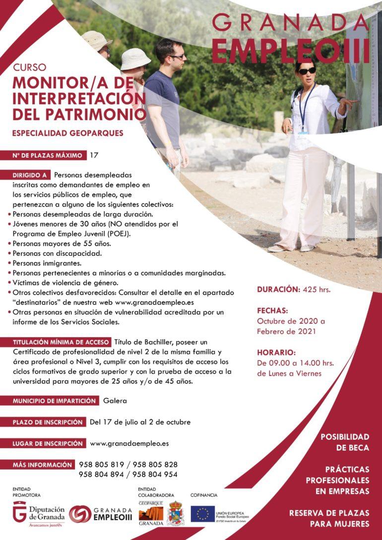 Ampliado el plazo para la inscripción al curso de Monitor de Interpretación del Patrimonio: Especialidad Geoparques.