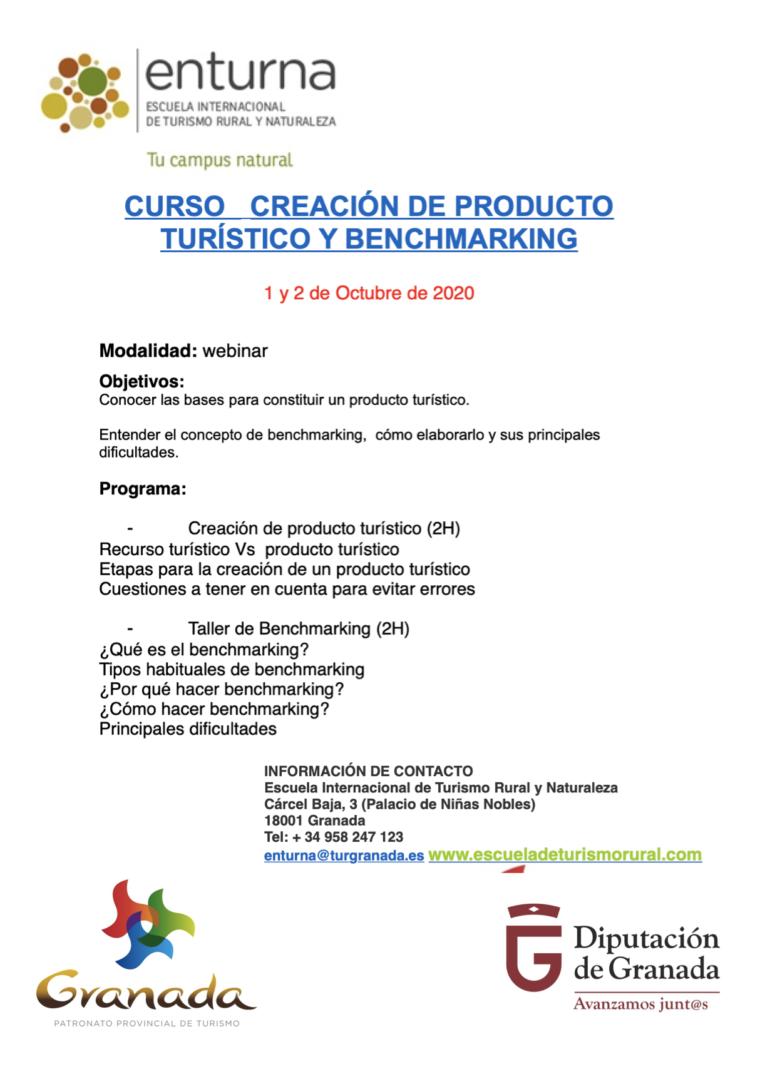 CURSO ENTURNA (Escuela Internacional de Turismo Rural y Naturaleza)  CREACIÓN DE PRODUCTO TURÍSTICO Y BENCHMARKING 1 y 2 de Octubre de 2020