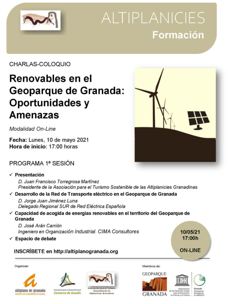 """CHARLAS-COLOQUIO: """"RENOVABLES EN EL GEOPARQUE DE GRANADA: OPORTUNIDADES Y AMENAZAS"""""""