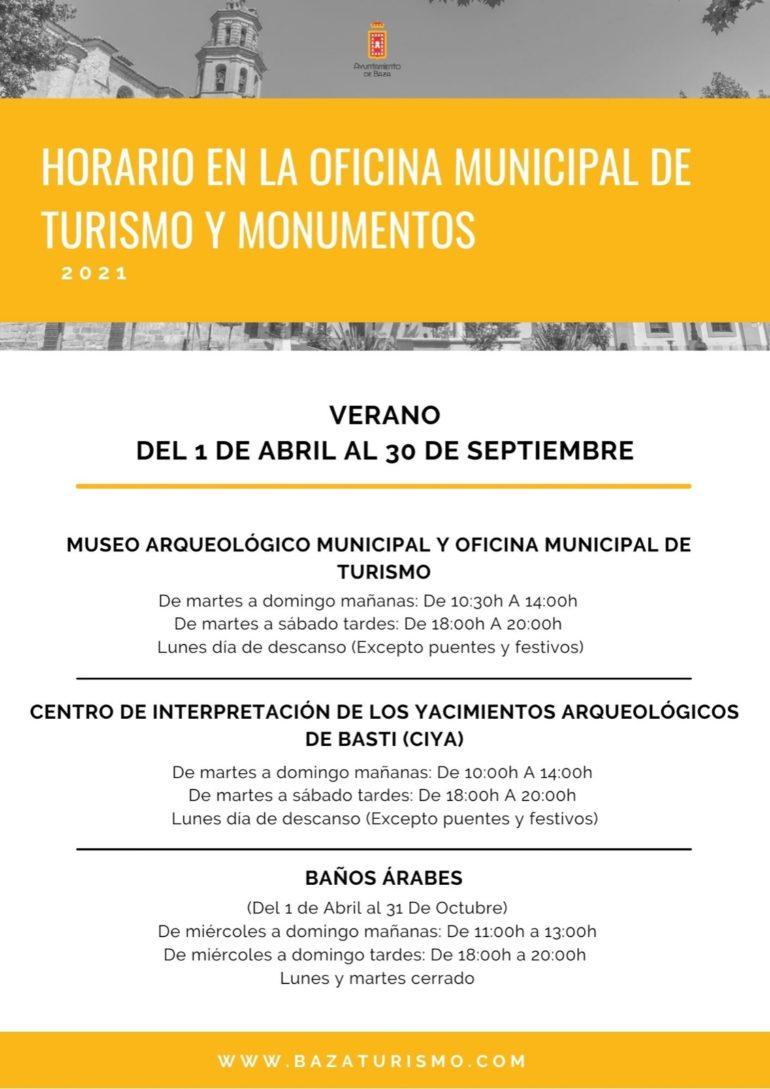 HORARIOS OFICINA DE TURISMO  MUNICIPAL DE BAZA Y MONUMENTOS  2021